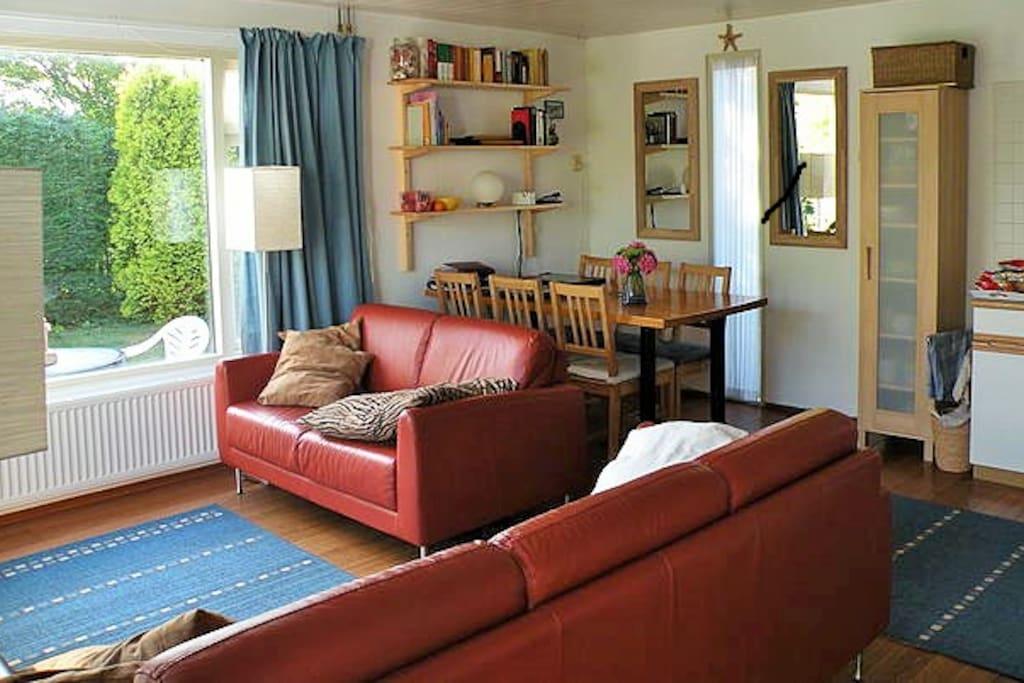 Gezellig ingerichte woonkamer met leren 3- en 2 zitsbank. Gratis Netflix én internet-tv. Uitzicht op de tuin.