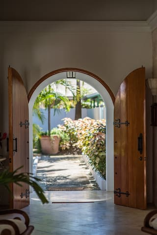 View outside through main entry door of the Villa.