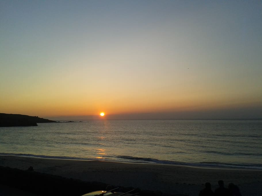 Sunset over Porthmeor Beach.
