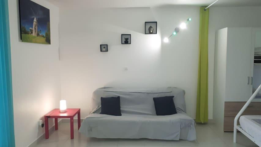 Espace séjour séparé avec espace chambre par rideaux occultant.