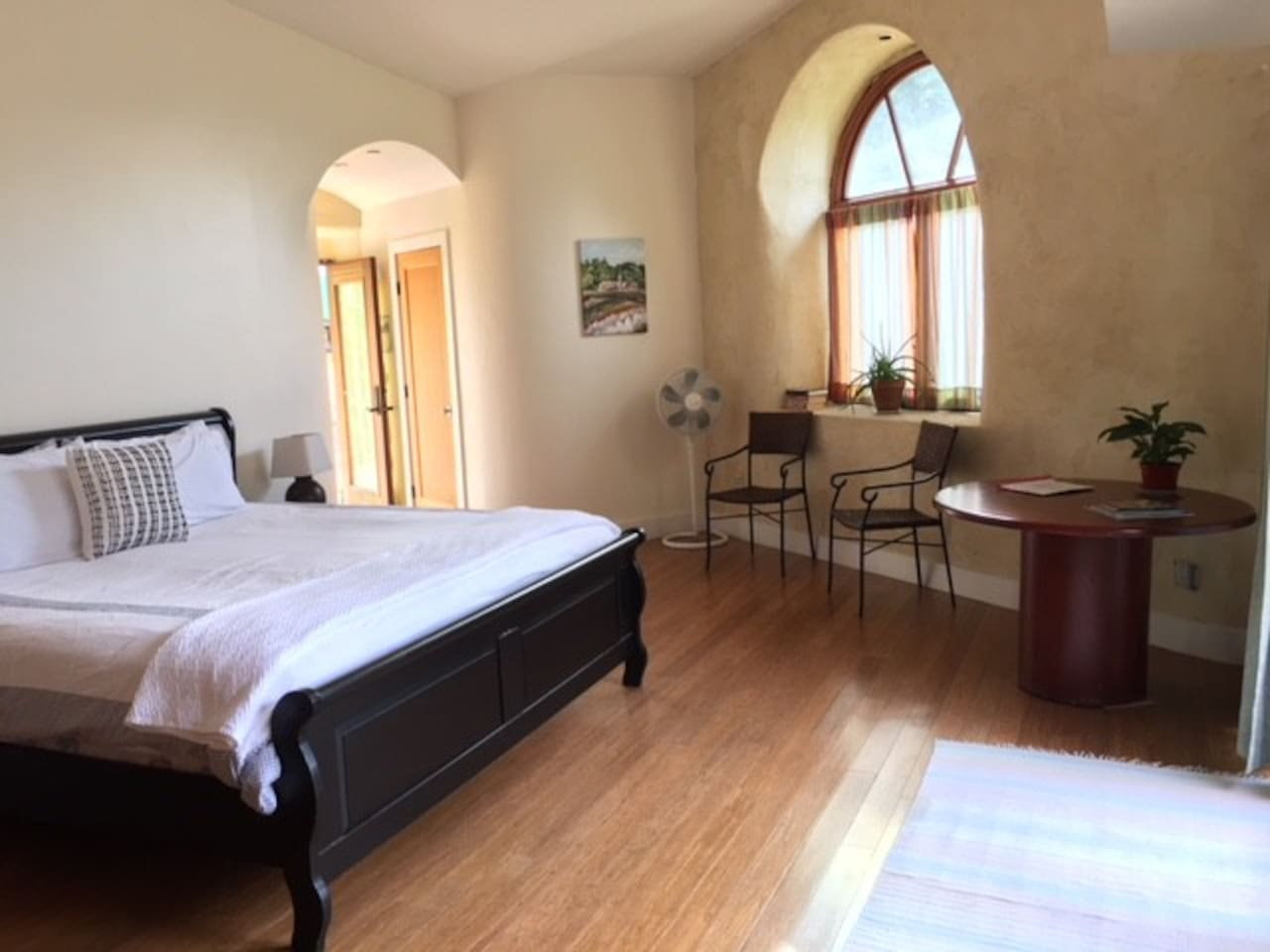 Spacious room with King Bed. Quiet, comfortable and serene.