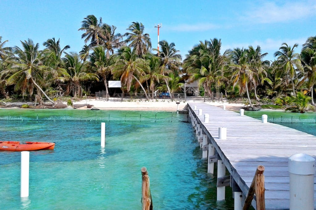 Resort size dock and Palapa to enjoy the Caribbean sea