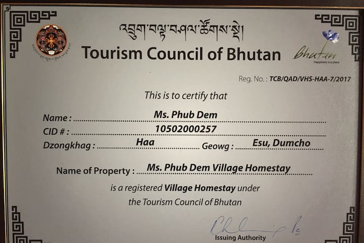 Phub Dem Village Home Stay is registered under the Tourism Council of Bhutan