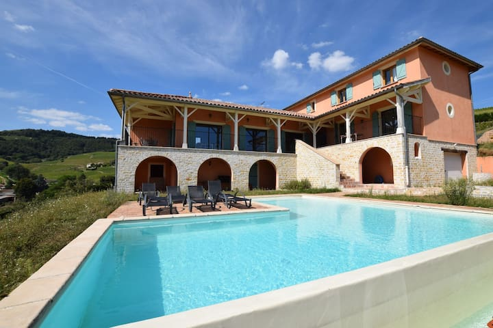 Villa with private swimming pool, heart of Beaujolais and with view on vineyard