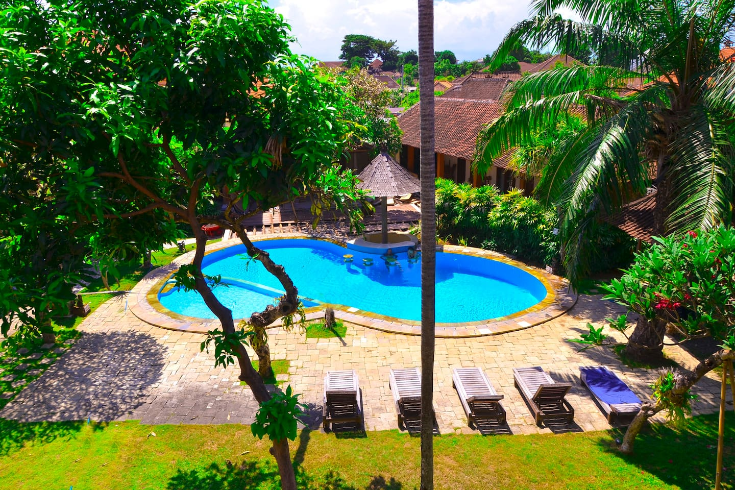 View pool from top balcony