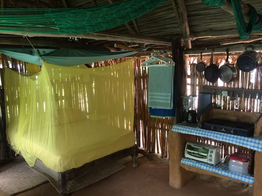 Double bed with the mosquito net in place
