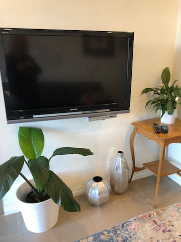 TV has ALL Foxtel channels and all TV channels a second smart tv in the bedroom to watch movies