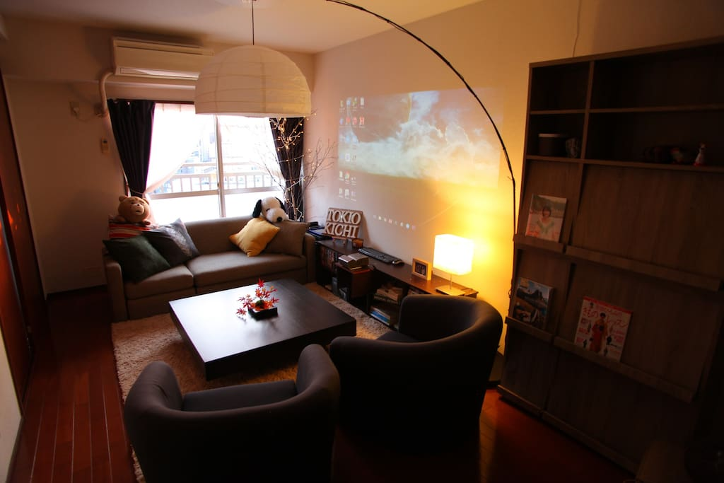 """The Living Room with 100"""" inches projector"""