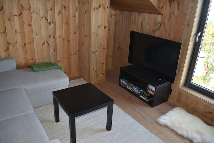 Loftstue/ soverom med fantastisk utsikt. Her er mulighet for de minste å kose seg med brettspill, playstation eller film.  Sovesofa.