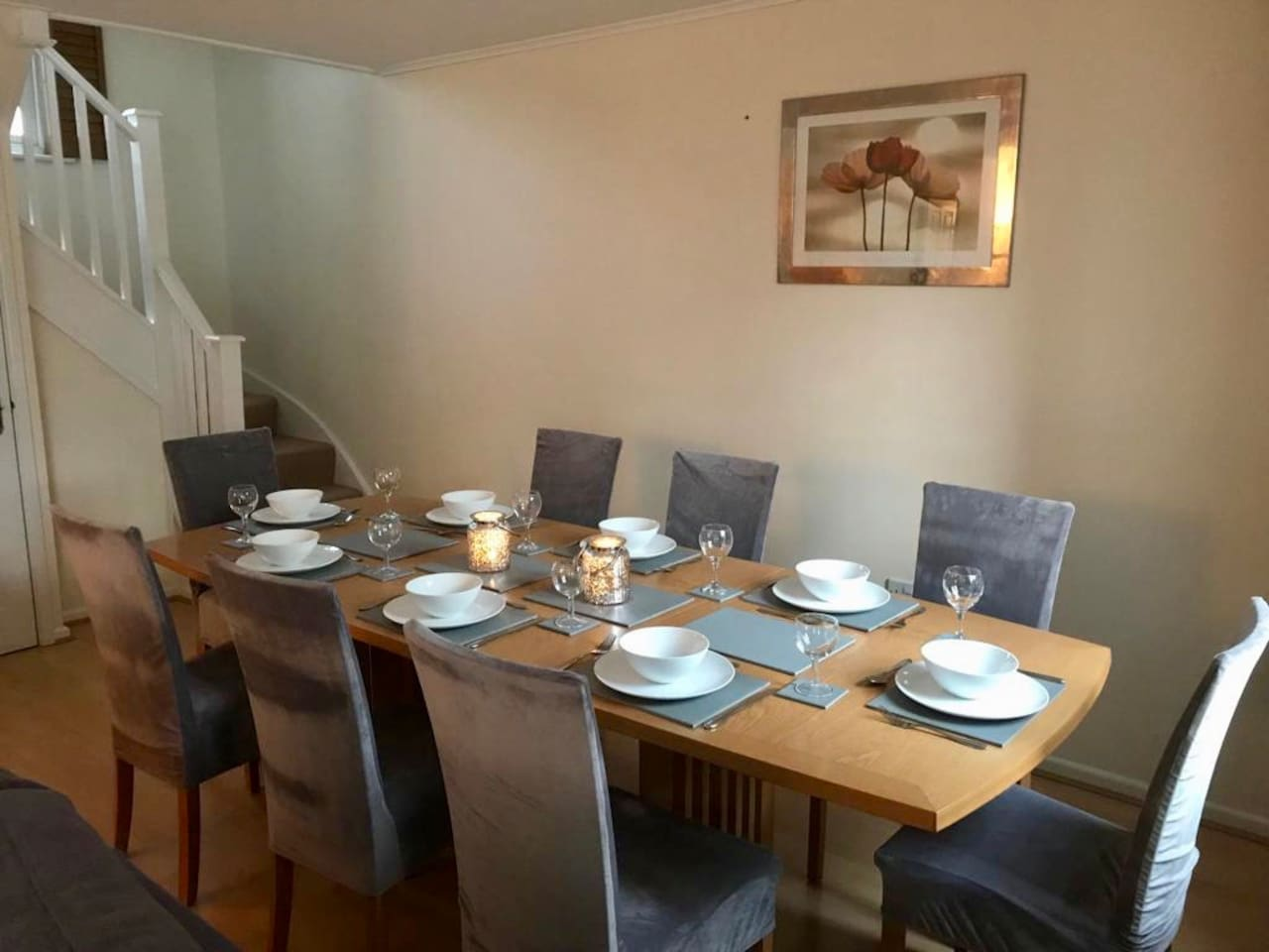 Full size dining table, seats 8 comfortably. *NB this is a no smoking property*