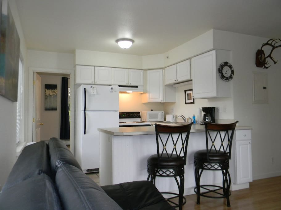 Vacation Rental units with FULL kitchens, separate from the bedrooms.