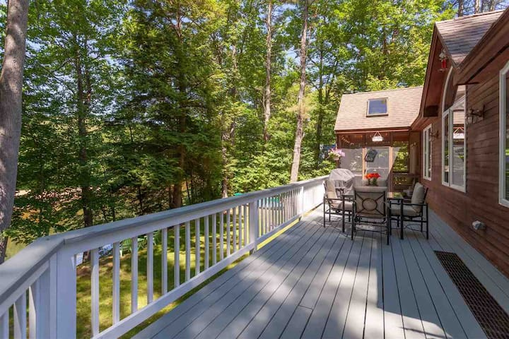 Wrap-around deck over-looking the Saco River