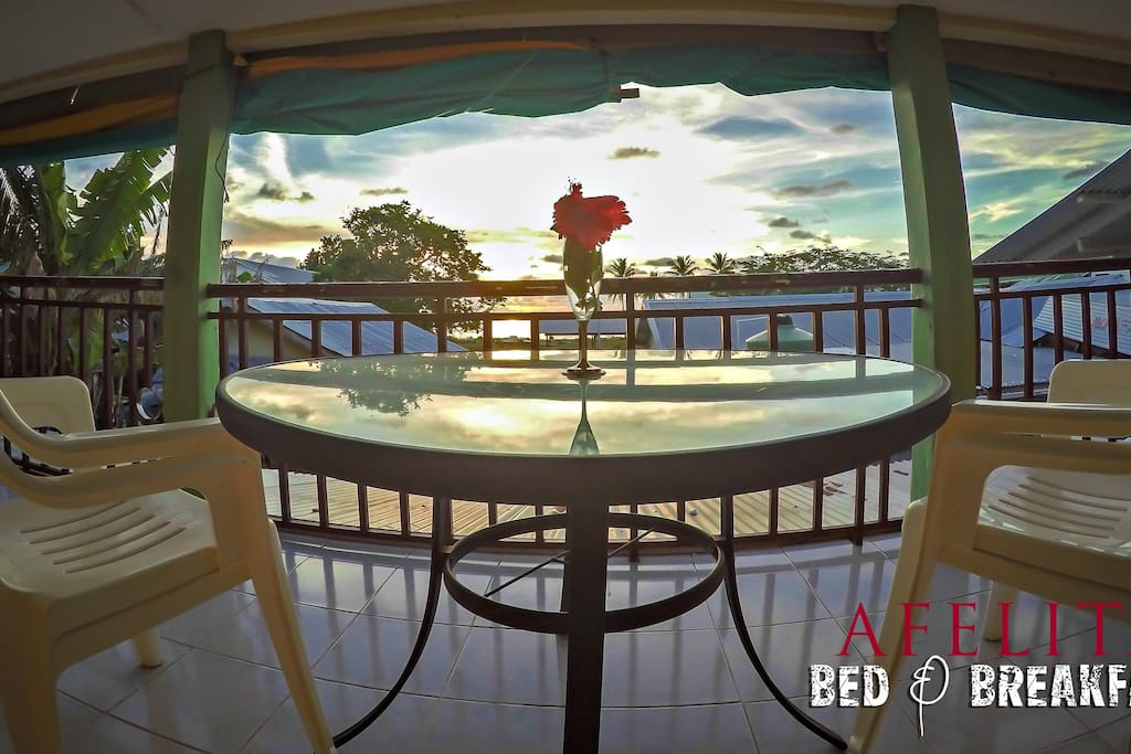 Relax and enjoy the sunset from the top floor of Afelita Bed & Breakfast.