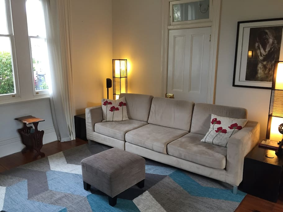 Large comfy couch and arm chairs. TV and Apple TV. Air-conditioned and heated