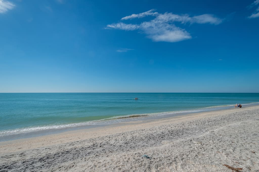 Pristine beach is a 2 minute walk from the cottage.