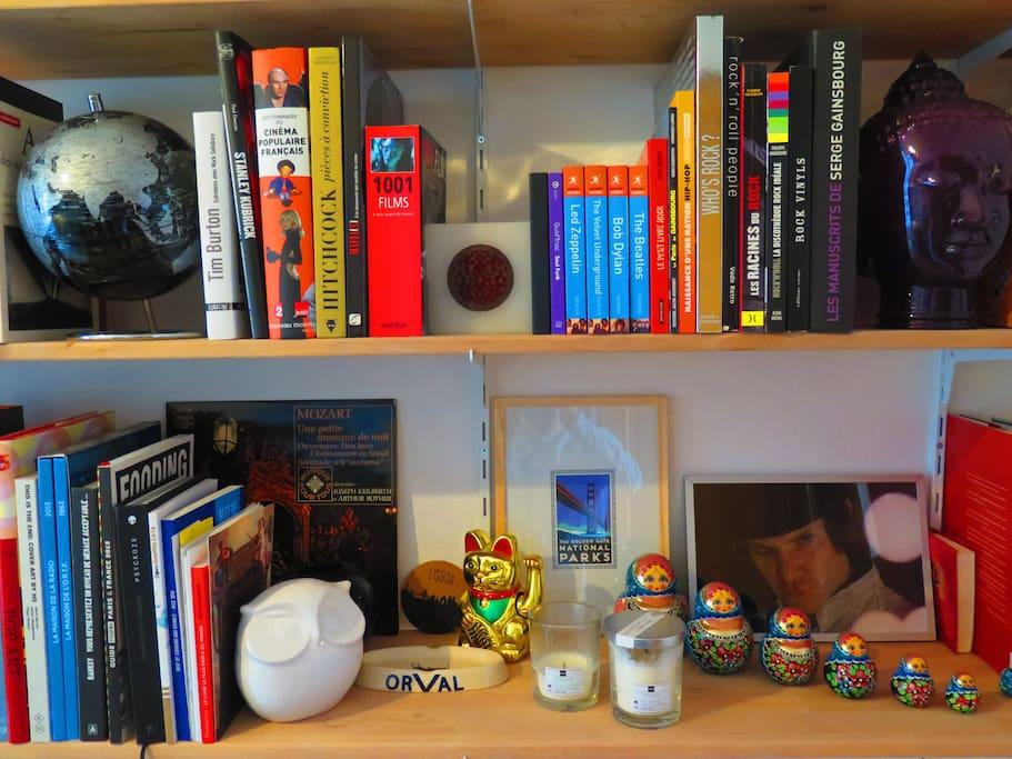 La bibliothèque, livres et souvenirs de voyages