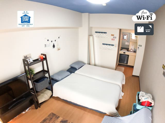 ☆Near NAMBA(5mins by train)☆Free WIFI☆301☆