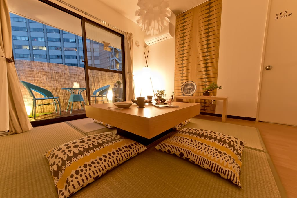 The living room tatami area with a wonderful look outside