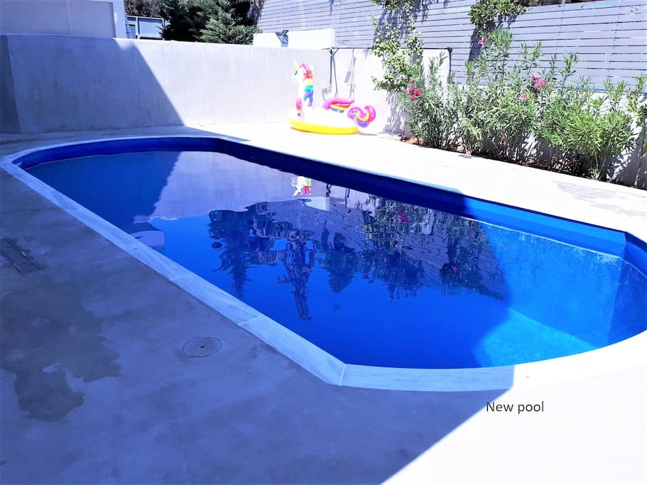 New pool for relaxing moments and play.