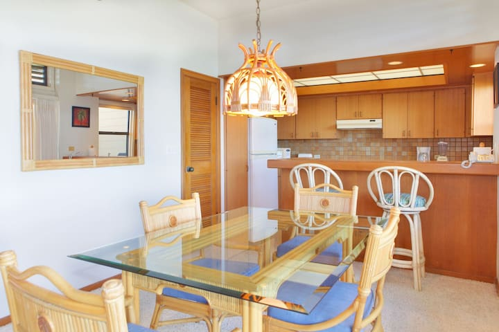The dining table with comfortable seating for four