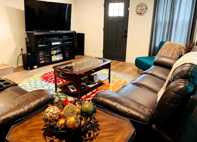 Family Room- Sit back and relax in our leather reclinable chairs to watch a movie, open the media center to play a game on the XBox or Wii, grab a board game, or play a round of foosball.  This room has something for everyone!