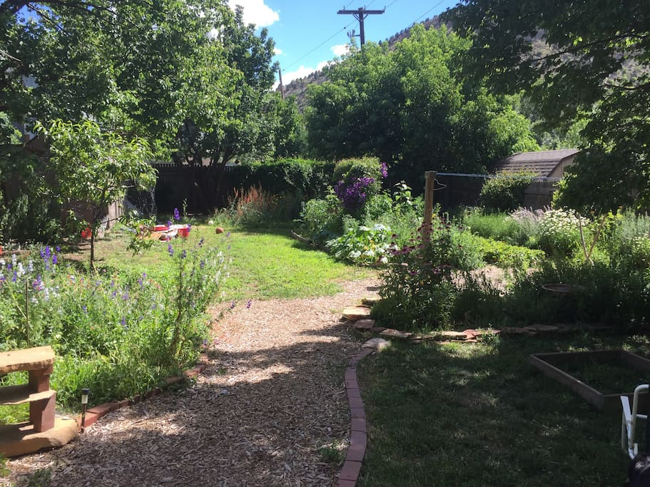 The garden paths. There is a strawberry patch and lots of herbs.  Mom is going to plant some summer squash this spring.  This is a drought tolerant yard so no real lawns, just a lot of perennial flower beds.