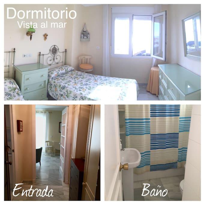 Vista del dormitorio, entrada de la casa amueblada y baño