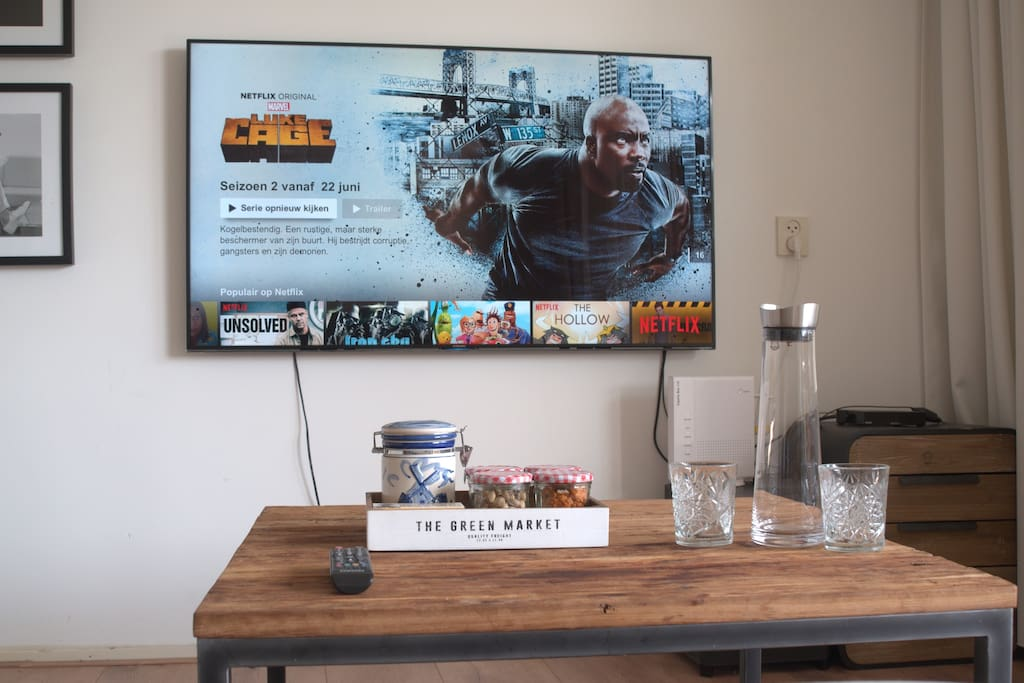 beautiful large smart TV with high speed internet connection and free Netflix.