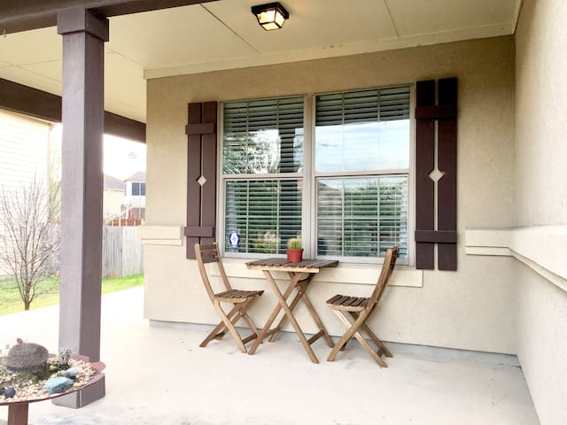 Covered front porch seating area