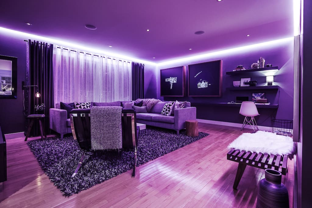 Color changing LED mood lighting in the living room.
