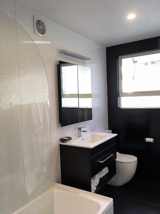 Modern, dramatic bathroom with glimpse of the harbour