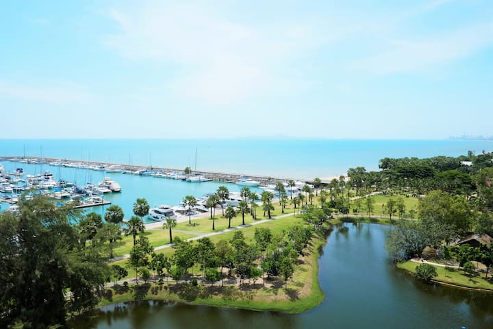 Ocean facing, 3BR spacious condo, up to 8 pax - Tambon Na Chom Thian - Lägenhet