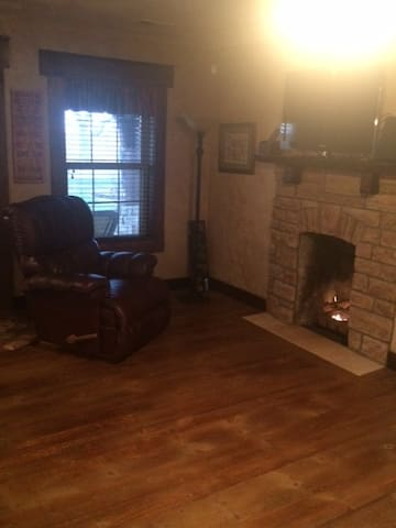 Gas fireplace adds to the ambiance.