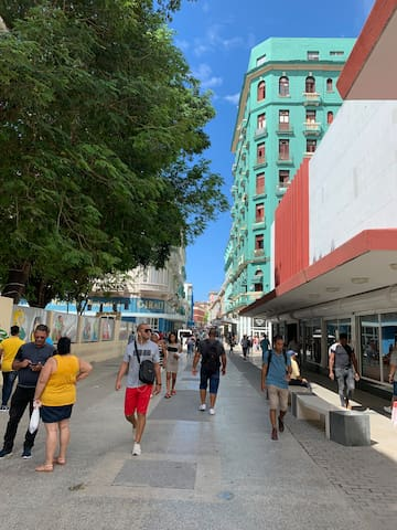 Approaching the apartment, Walking on San Rafael from El Prado.  Building on the right is Arte De Habana.  You turn between the two buildings on the right.