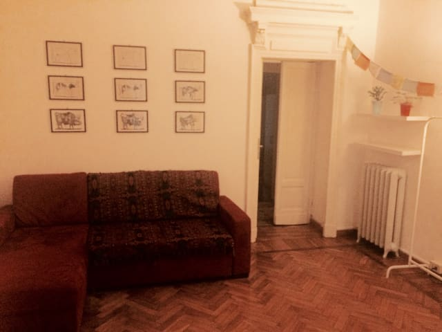 Hall/living room with a big and confortable sofa, for two persons