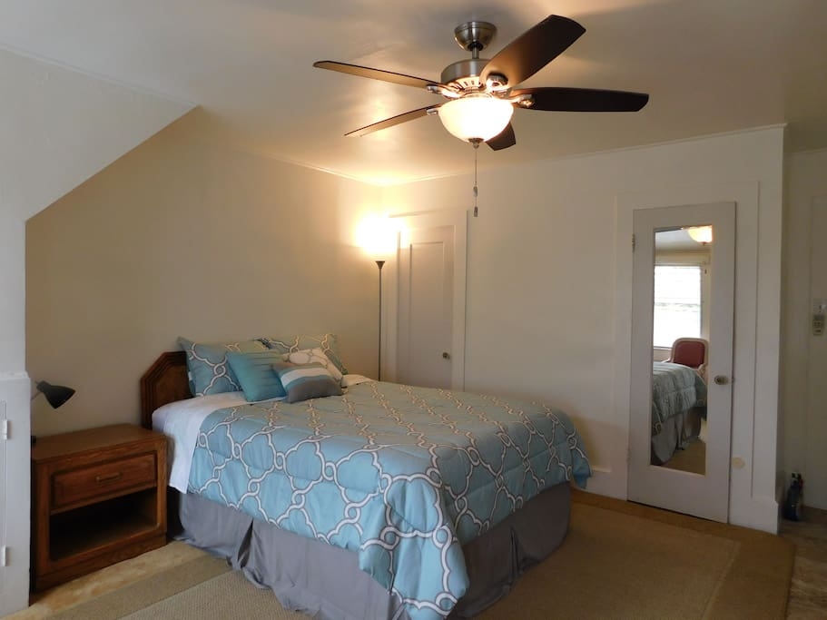 Queen Bed and Ceiling Fan