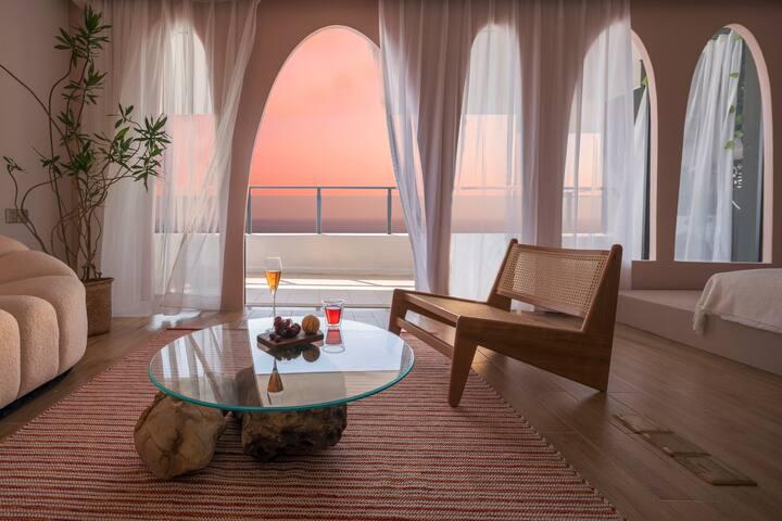 【几•宿】R-007 保利玥海「稀缺高层270度全海景 | 两房一厅 」双阳台日出 家庭套房 近沙滩