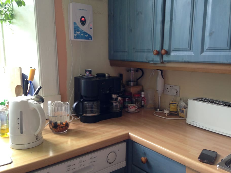 Comfortable big shared kitchen with coffee and teas, and some basic breakfast available.