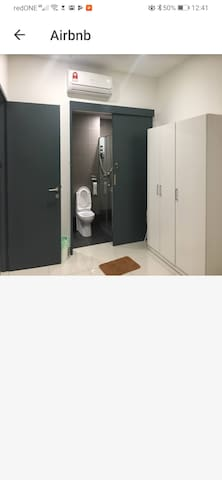 Toilet accessable from master bedroom. Door entrance area is wide.