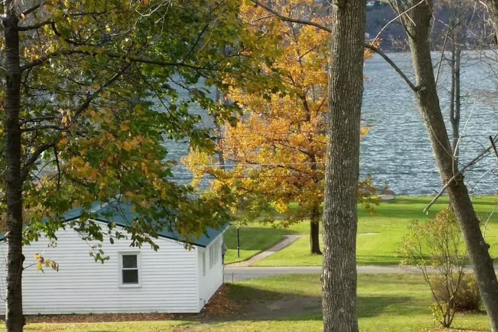 The beautiful park-like property of the bungalow, looking out over Honeoye Lake.