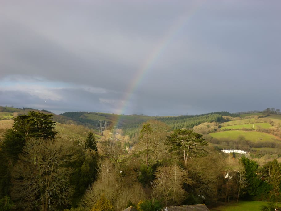 Beautiful views over the Devon countryside; sometimes with rainbows!