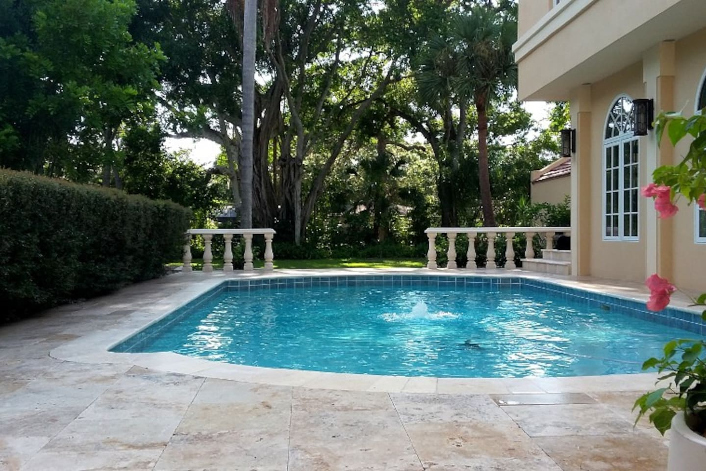 Pool area is just outside the apartment door, and is set in a lush, garden-like setting. The area is very quiet and private.