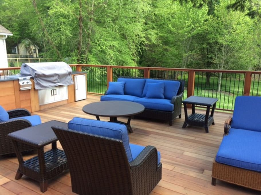 700 SF Redwood Deck with Custom Grill and fridge