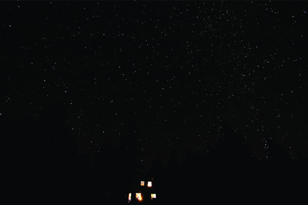 Night time sky over the cabin - photo taken by visiting amateur astronomers.