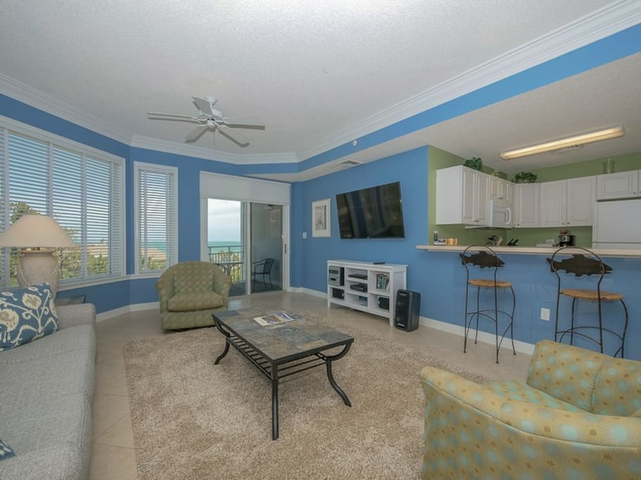Living Room with Ocean Views at 2405 SeaCrest