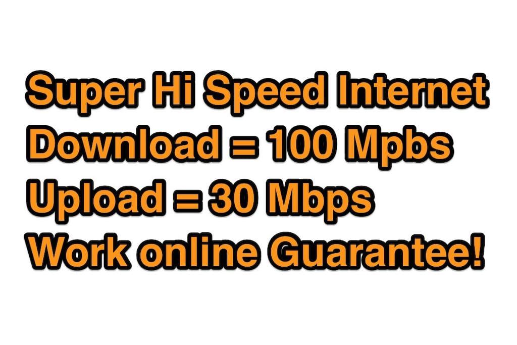Super Hi Speed Internet Download = 100 Mpbs Upload = 30 Mbps Work online Guarantee!