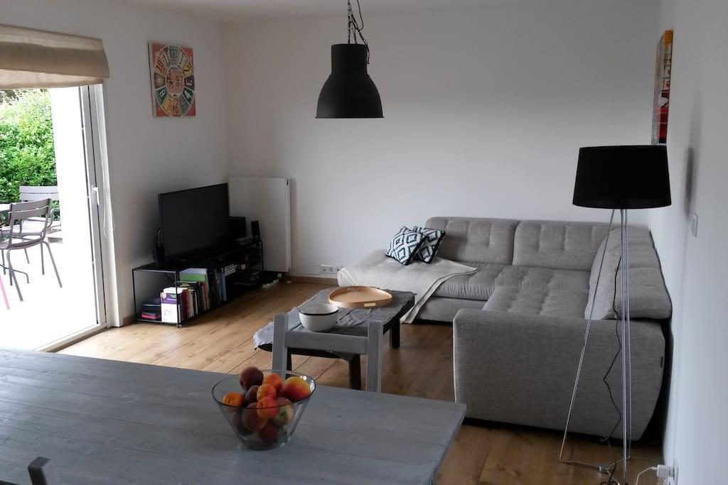 Salon avec baie vitrée donnant sur terrasse - Tv avec Freebox