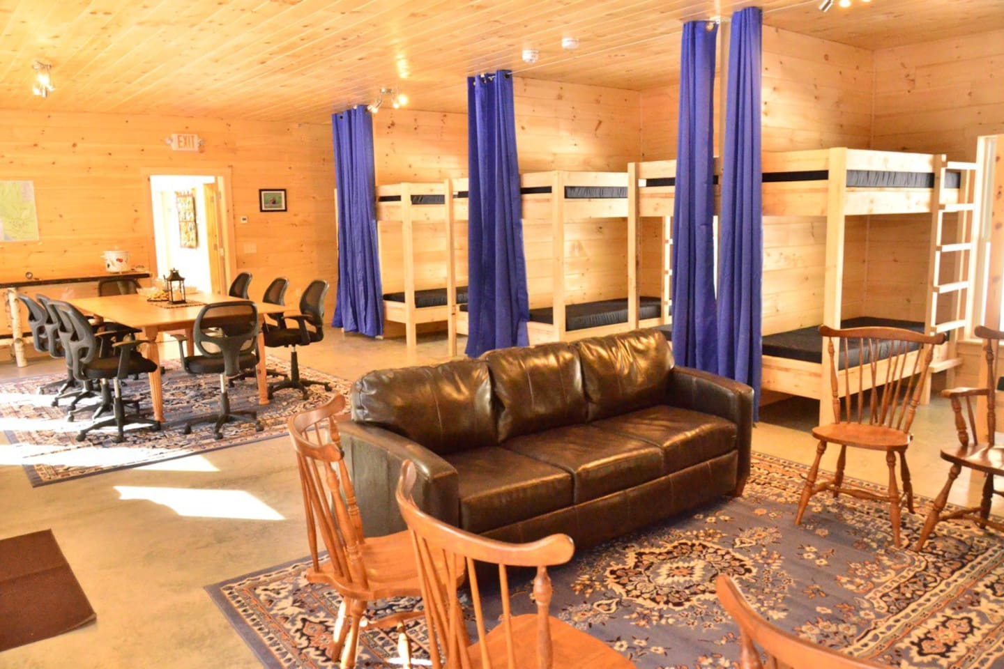 Our 16 bunks are separated by curtains into groups of 4 for more privacy.