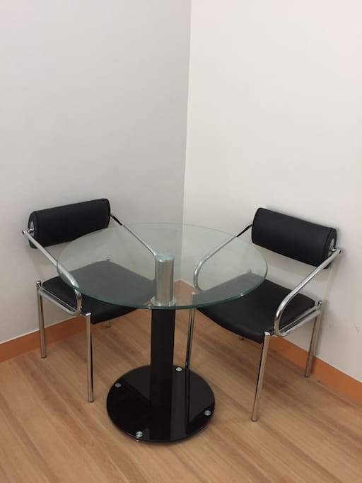 Available dining table with 2 seats.