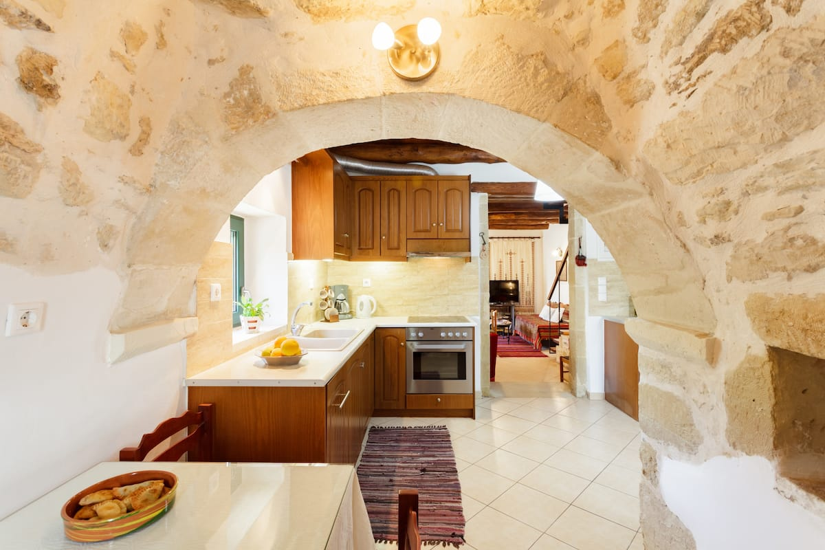 Cretan Traditional Stone House of 1850 in the Nature and Flora of Chania